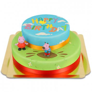Gâteau avec figurines Peppa Pig sur 2 étages