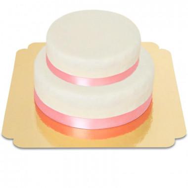 Gâteau Blanc avec Ruban sur deux étages