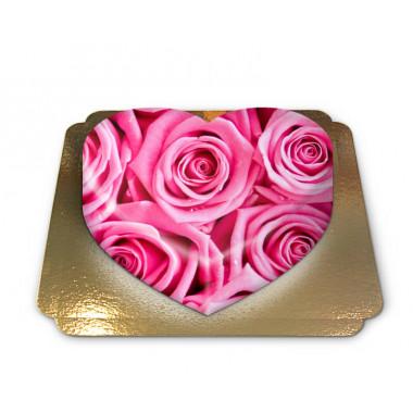 "Gâteau de Roses ""Pink"" en forme de coeur"