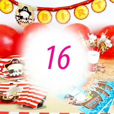 """Kit de décoration """"Pirate"""" pour 16 personnes (gâteau non inclus)"""