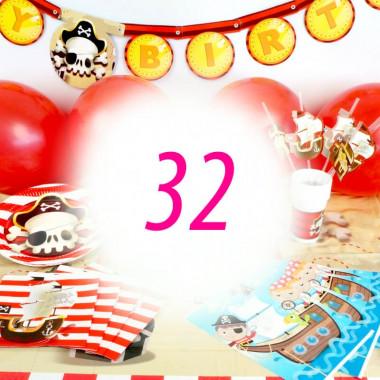 """Kit de décoration """"Pirate"""" pour 32 personnes (gâteau non inclus)"""