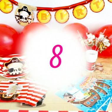 Kit de décoration Pirate pour 8 personnes (gâteau non inclus)
