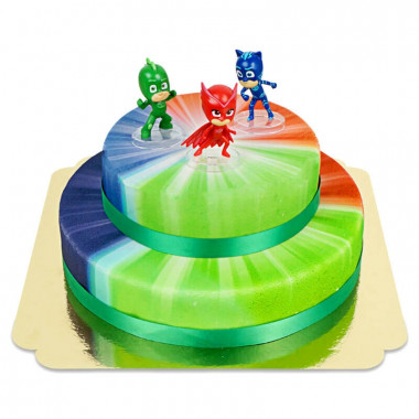Les héros de Pyjamasques sur un gâteau à 2 étages