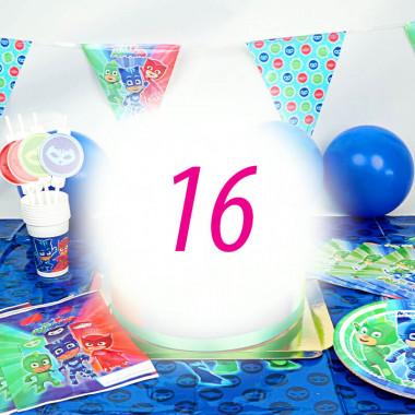 """Kit de décorations """"Pyjamasque"""" pour 16 enfants (gâteau NON INCLUS)"""