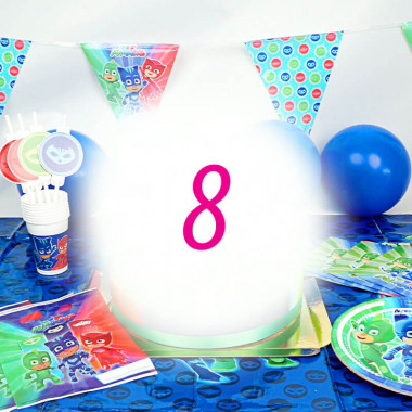 """Kit de décorations """"Pyjamasque """"pour 8 enfants (gâteau NON INCLUS)"""