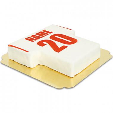 Gâteau maillot de foot blanc et rouge