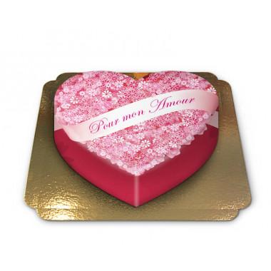 """Gâteau """"Pour mon Amour"""" en forme de coeur"""