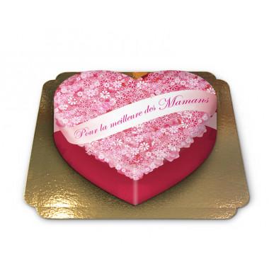 """Gâteau """"Pour la meilleure des Mamans"""" - en forme de coeur"""