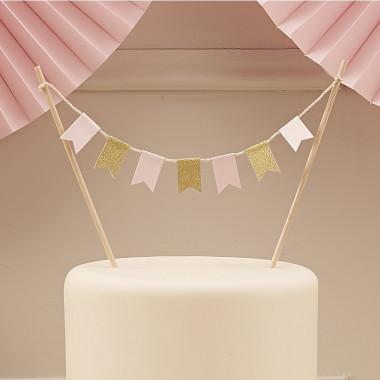 Cake Topper Rose Pastel et Doré avec Fanions