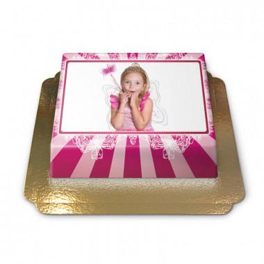 Gâteau-Photo Cadre thème Rose et Blanc