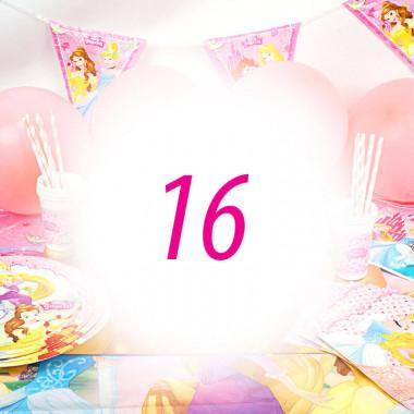 Kit anniversaire Princesse - 16 enfants (gâteau non inclu)