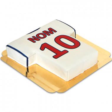 Gâteau Maillot club de foot, blanc-rouge avec ligne bleue