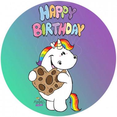 Feuille pâte à sucre anniversaire Licorne Chubby