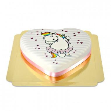 Gâteau Licorne Chubby Unicorn en forme de coeur