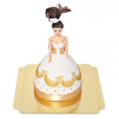 Gâteau Poupée Deluxe avec Robe Dorée