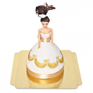 Gâteau Poupée avec Robe Dorée