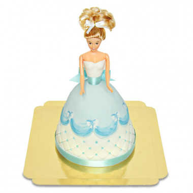 Gâteau Poupée Deluxe avec Robe Bleue