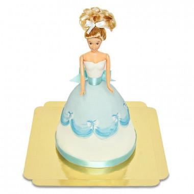 Gâteau Poupée avec Robe Bleue
