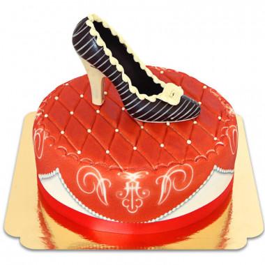Escarpin en chocolat sur gâteau deluxe rouge