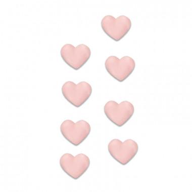 Coeurs roses en pâte à sucre (8 pièces)