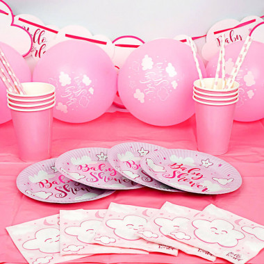 Kit de décoration Baby Shower rose