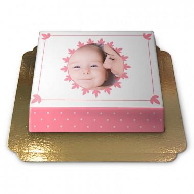 Gâteau photo rose pastel
