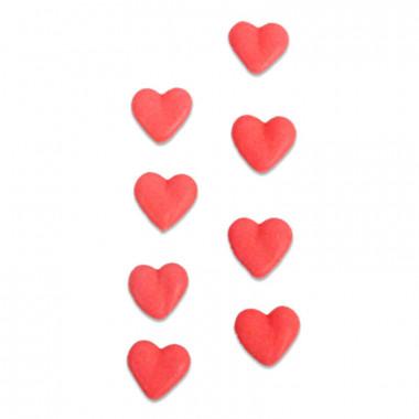 Coeurs rouges en pâte à sucre (8 pièces)