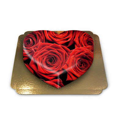 Gâteau de Roses rouges en forme de coeur
