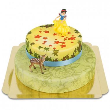 Figurine Blanche-Neige sur son gâteau conte de fées à deux étages