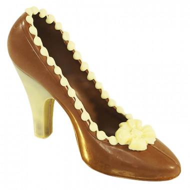 Escarpin marron avec blanc en chocolat
