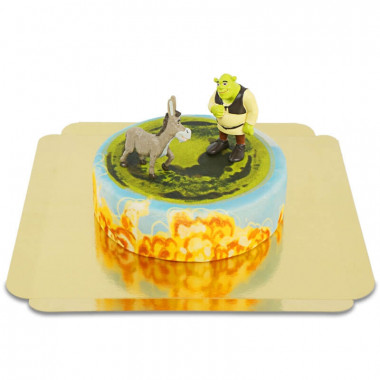 Figurine Shrek et l'Âne sur gâteau de conte de fées