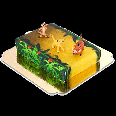 Simba, Timon et Pumba sur gâteau jungle