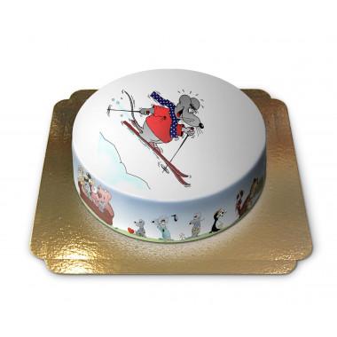 Gâteau Souris sur skis