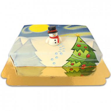 Gâteau paysage enneigé avec figurine bonhomme de neige