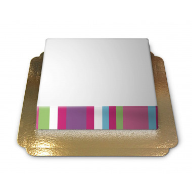 Gâteau-Photo Cadre thème Rayures multicolores