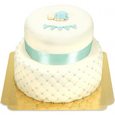 Gâteau Baptême Bleu - deux étages