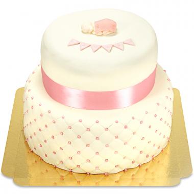 Gâteau Baptême Rose - deux étages