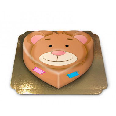 Gâteau ourson en forme de coeur