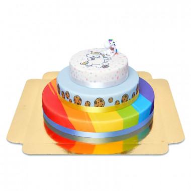 Gâteau Chubby Unicorn trois étages avec figurine
