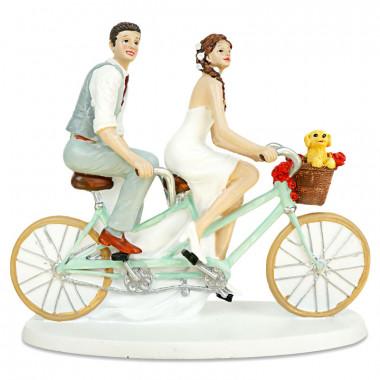 Figurine mariés à vélo