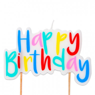 """Bougie """"Happy Birthday"""" multicolore"""