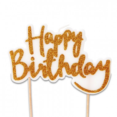 """Bougie """"Happy Birthday"""" dorée"""