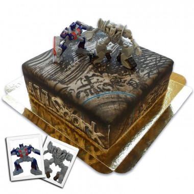 "Figurines Transformers - Optimus Prime & Mégatron sur leur gâteau ""Allspark"""