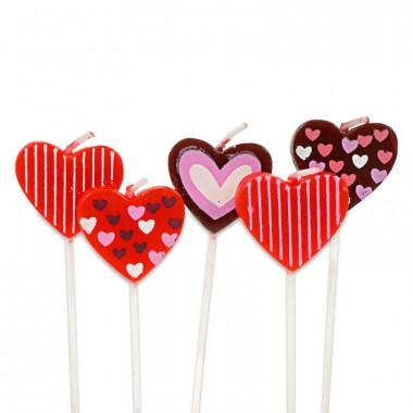 Bougies en forme de coeur (5 pièces)