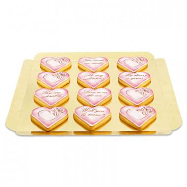 Biscuits Saint Valentin avec message d'amour - rose (12 pièces)