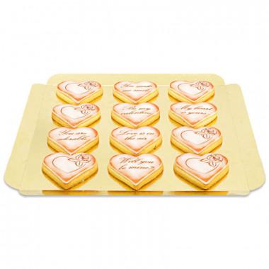 Biscuits Saint Valentin avec message d'amour - Rouge (12 pièces)