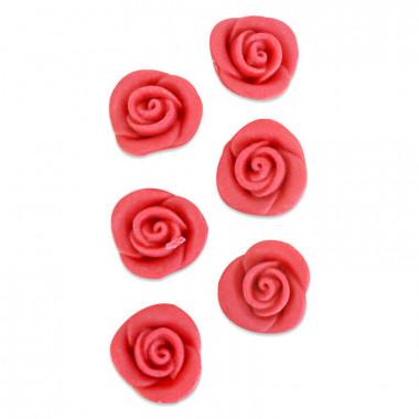 Rose rouge pâte d'amande (6 pièces)