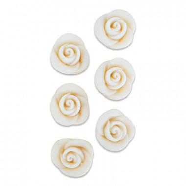 Rose blanche pâte d'amande (6 pièces)