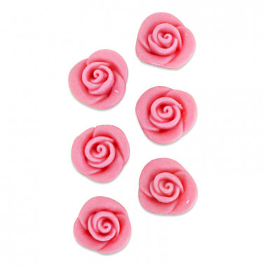 Rose rose pâte d'amande (6 pièces)