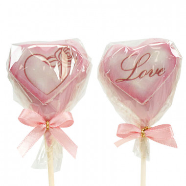 Cake-Pops Saint Valentin roses en forme de coeur (12 pièces)